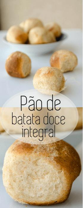 Pão caseiro e fofinho de batata doce e farinha integral. Um pãozinho de leite  cheio de sabor e fibras! Faça em casa este pão caseiro de batata doce